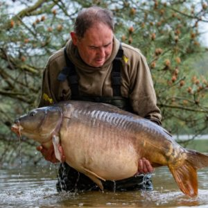 Gary Dennis with a huge 53lb french carp caught using two of our Yellow Gofters on a long hair!