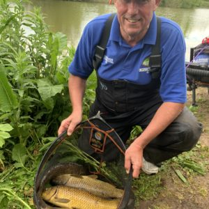 Mal King with part of a 160lb net at Goodiford in one of our So Simple Matches!