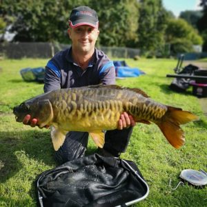 Alan Maggs from Lavington with this gorgeous 16lb mirror one of many doubles caught on Boosted Red Gonut baits!